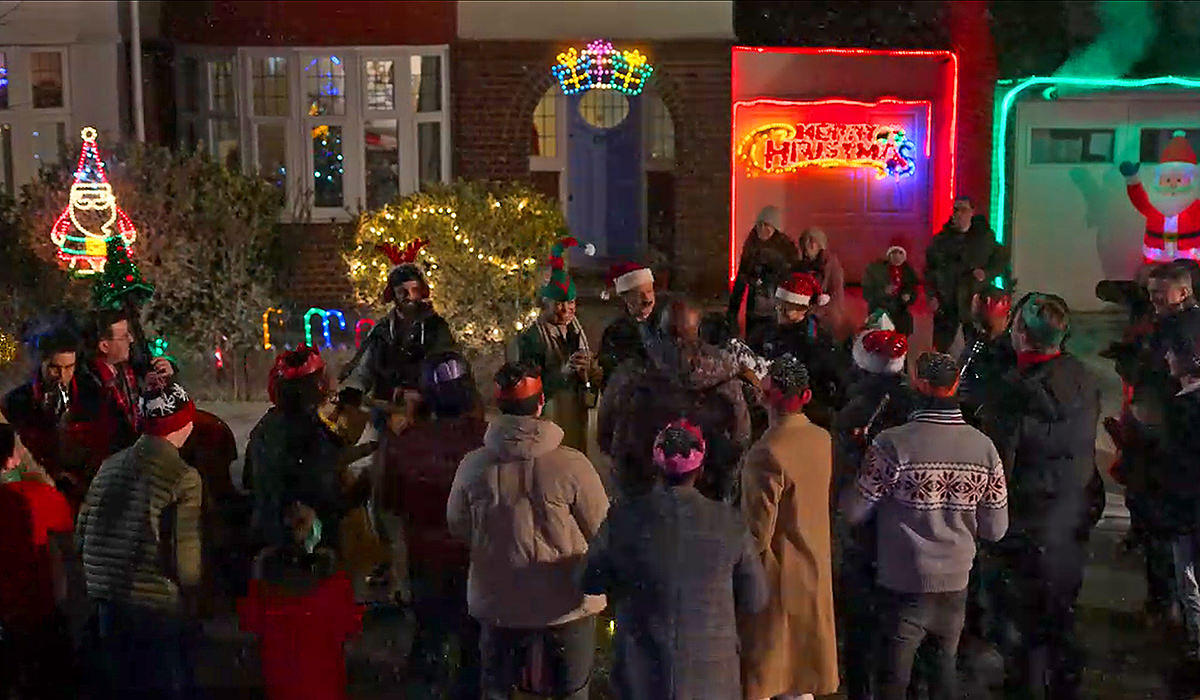 A Christmas street party.