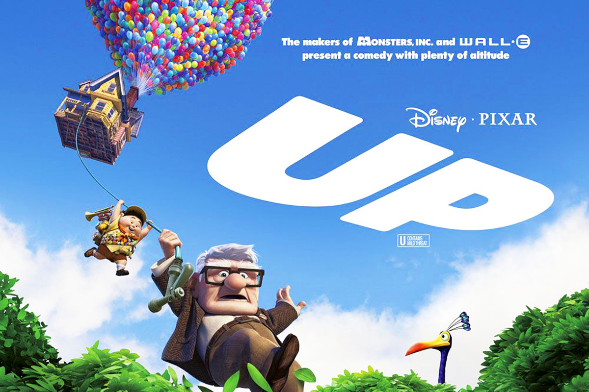 The poster for Disney/Pixar's UP... showing an old man dangling from a rope that's hanging out of a house suspended in the air by thousands of balloons.