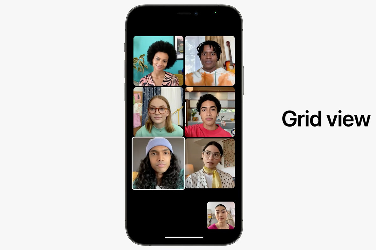 An iPhone in a Facetime chat with six people where everybody is in tiles looking at you.