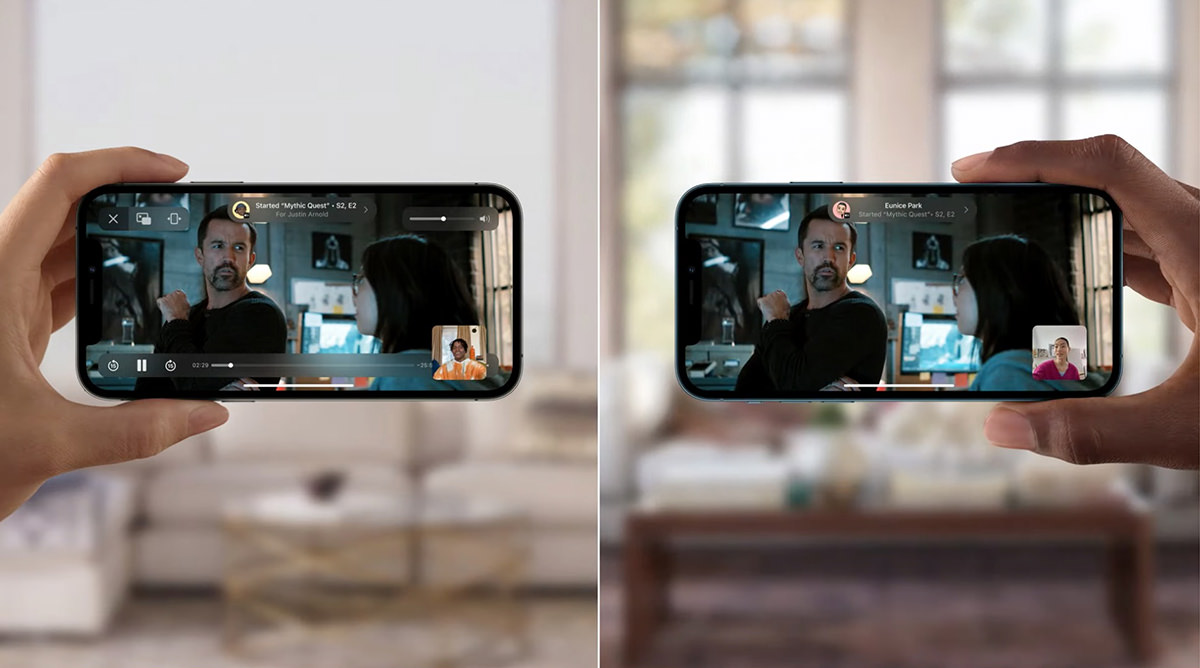 Two people holding phones while sharing a video together.