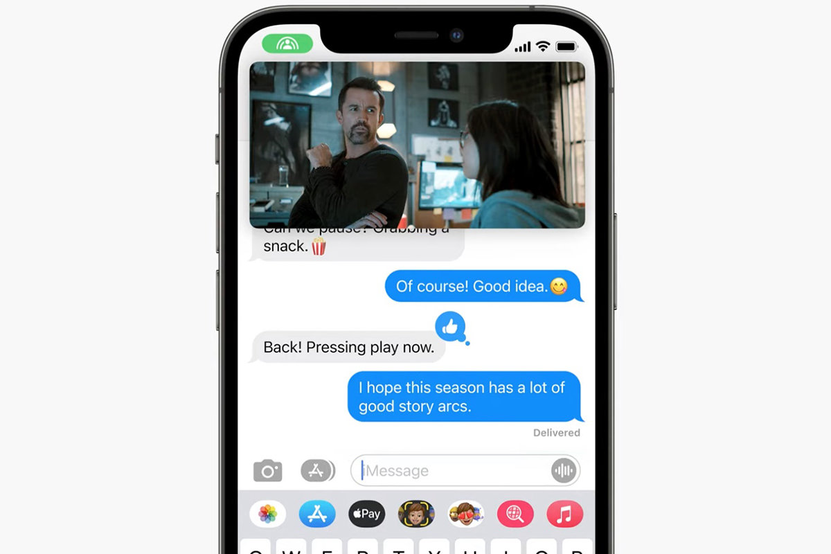 Two people chatting in text messages while a video is synced between them.