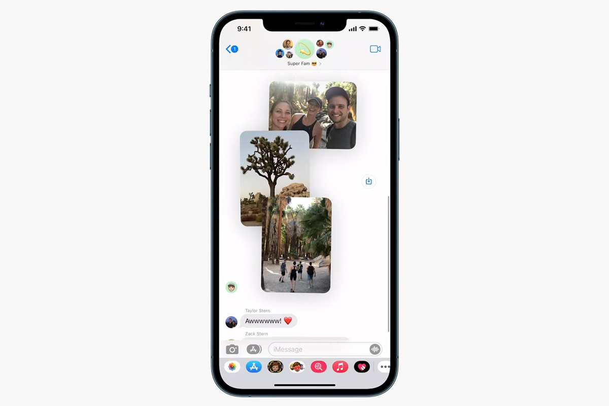 Messages showing a collage of photos in a text stream.