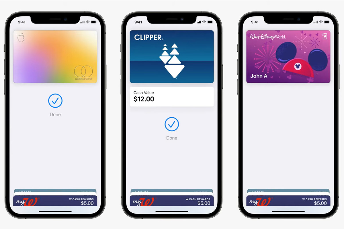 An iPhone wallet with credi cards, transit cards, and park passes.