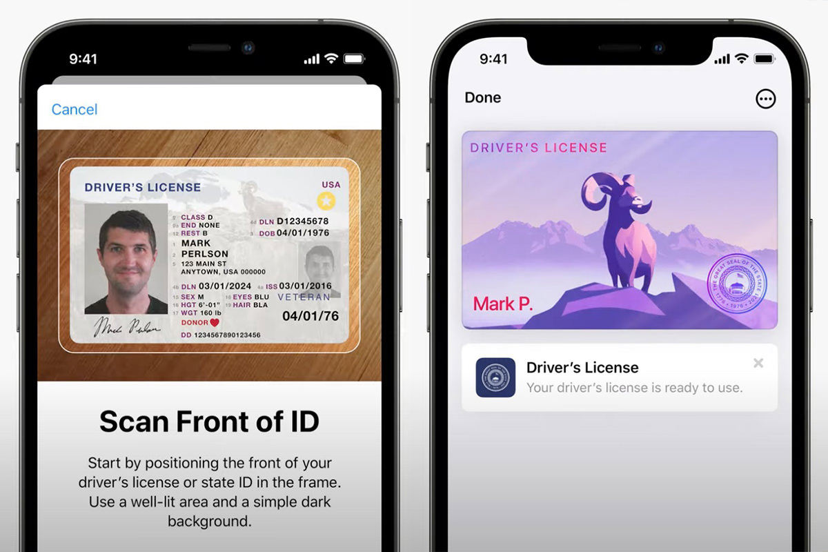 An iPhone scanning a licenes into Wallet.