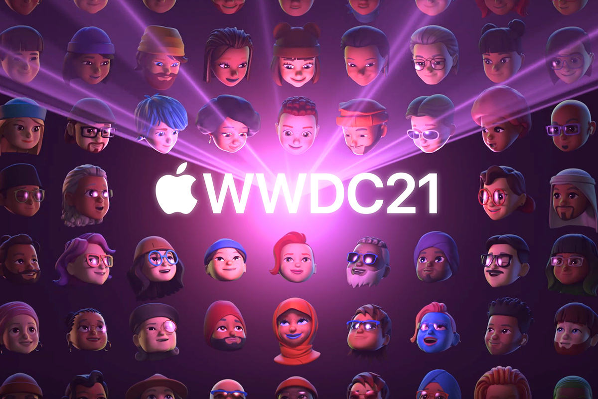 The WWDC logo showing a purple glow while a diverse collection of Memoji Characters bask in the light!