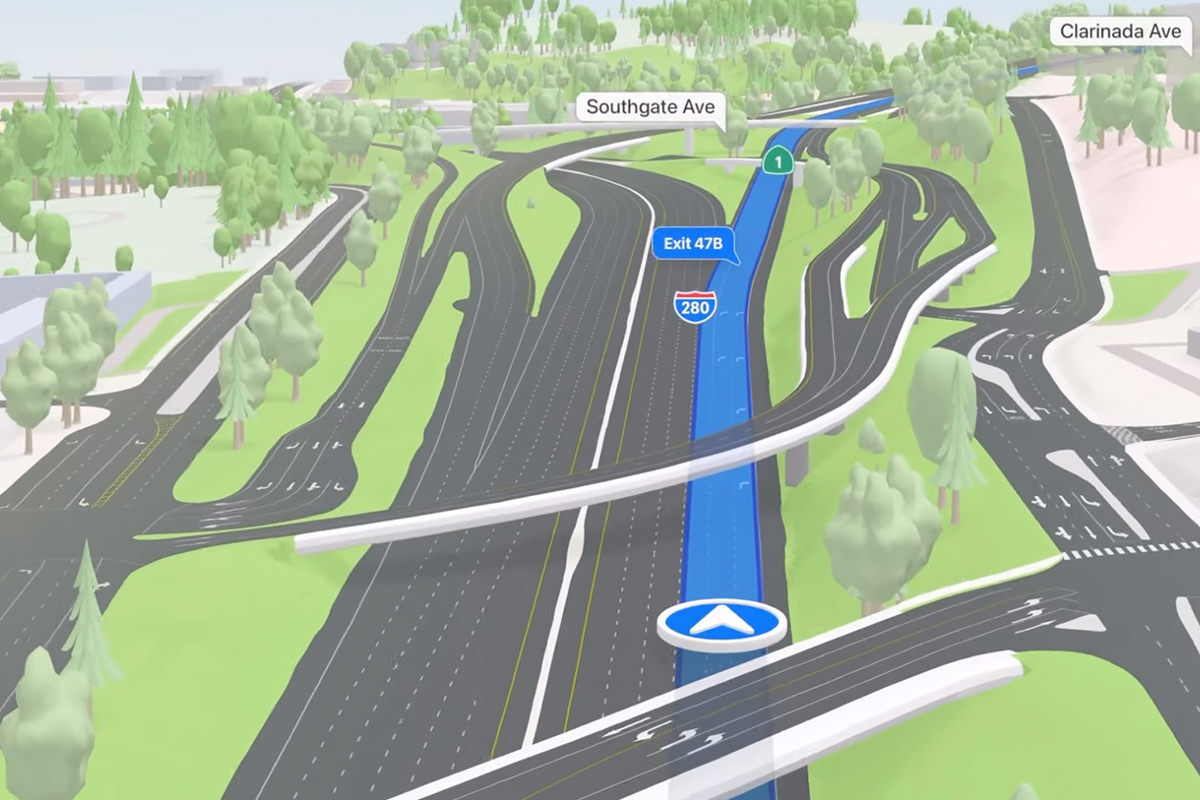 Lanes and overpasses beautifully rendered on a drive map.