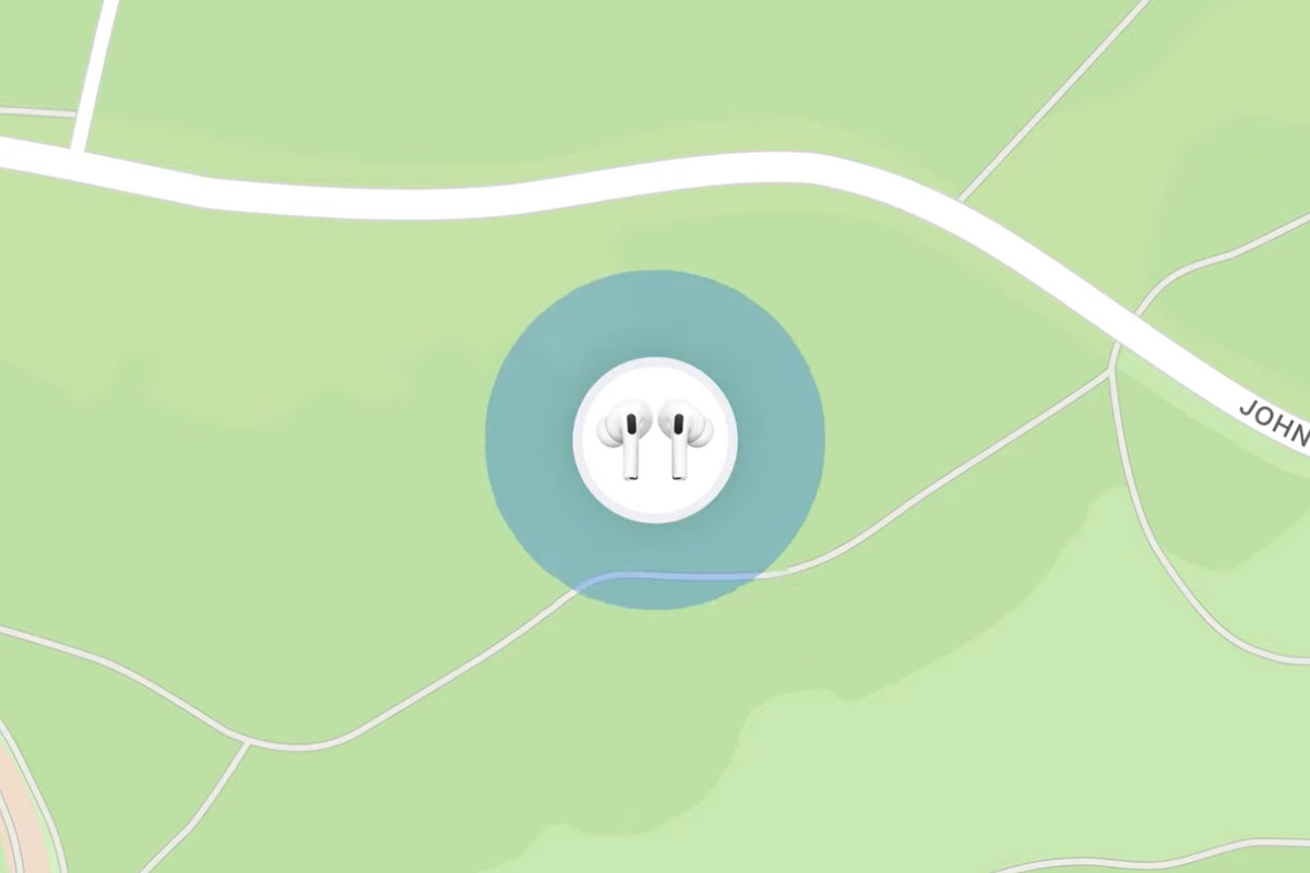 AirPods showing up on a map.