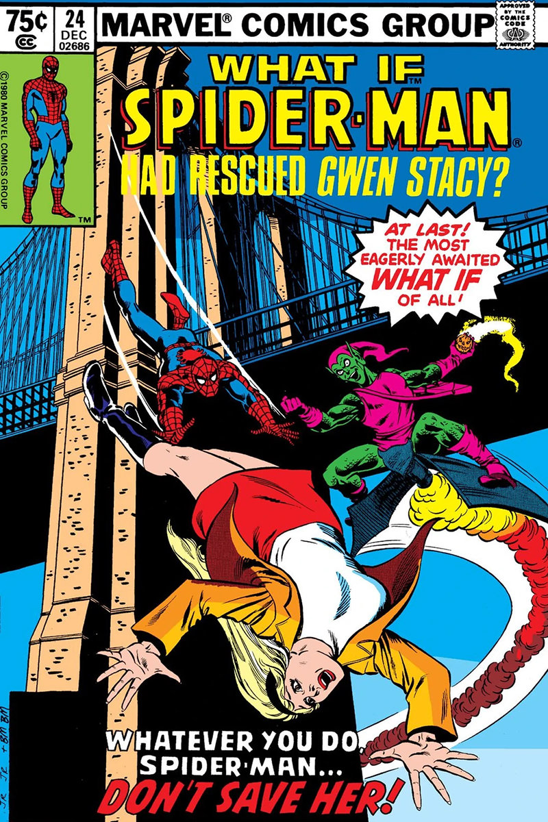 The cover of What If where Spider-Man rescues Gwen Stacy